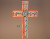"""Hand Carved Southwest Style Cross 17"""" (c32)"""