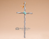 Twisted Iron with Turquoise Stone Cross