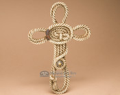 """Small Western Lasso Coiled Rope Cross 12"""" (c71)"""