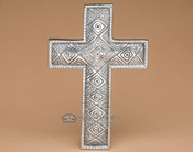 "Southwestern Solid Pewter Wall Cross 7"" -Diamonds (c8)"