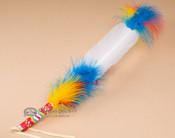 Pueblo Indian Hand Beaded Single Feather Prayer Fan (f85)