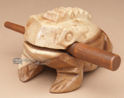 Carved Wooden Croaking Frog - Lg