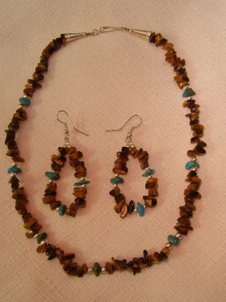 Native American Navajo Jewelry -Necklace & Earring Set 16""