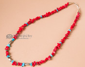 "Native American Necklace -20"" Turquoise & Coral"