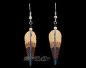 Navajo Hand Painted Bone Feather Earrings