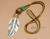 Native American Bone Feather -Green