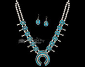 """Navajo Double Silver Turquoise Necklace & Earrings 26"""""""