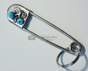 "Native American Safety Pin Key Chain 4"" - Turquoise"