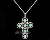 "Native American Silver Cross Necklace 20"" -Zuni"