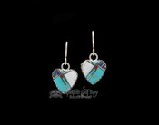 Native American Navajo Inlaid Silver Earrings