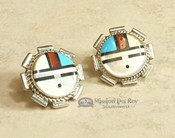 Native American Zuni Inlaid Silver Earrings - Sun Face