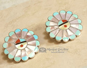 Native American Sterling Silver Inlaid Earrings -Zuni Sun Face