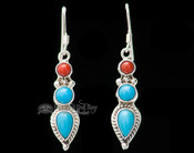Native American Silver Indian Earrings -Navajo