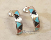 Zuni Native American Silver Earrings -Turquoise & Coral