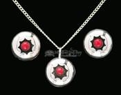 "Navajo Silver Necklace Pendant & Earrings 20"""