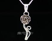 "Native American Silver Pendant Necklace 20"" -Rose"
