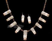 """Hand Carved Zuni Pueblo Antler Necklace & Earring Set 27"""" -Owl"""