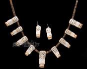 "Hand Carved Zuni Pueblo Antler Necklace & Earring Set 27"" -Owl"