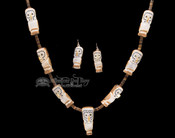 Zuni Indian Carved Antler Owl Necklace & Earring Set 34""