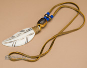 Native American Indian Bone Feather Necklace -Blue