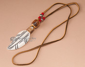 Native American Bone Feather Necklace -Red