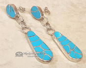 Native American Sterling Silver Earrings -Turquoise Inlay
