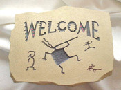 Tan Welcome Wall Plaque - Kokopelli