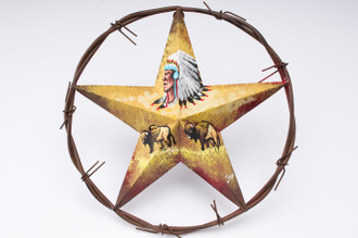 Texas Star Wall Art hand painted metal texas star wall art -indian buffalo - mission