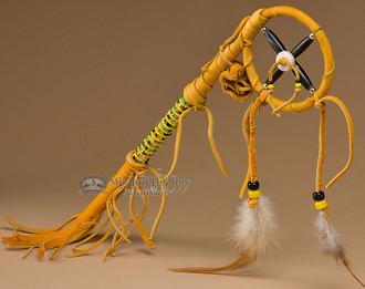 Native American talking stick with medicine wheel.
