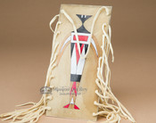 """Painted Rawhide Parfleche Medicine Bag 8"""" -Ancients (b46)"""