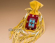 "Pueblo Indian Buckskin Medicine Bag 8"" (b96)"