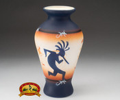 "Native American Navajo Pottery Vase 9"" -Kokopelli (v204)"