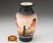 """Native American Navajo Pottery Vase 6"""" -Monuments (v208)"""
