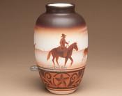 """Native American Navajo Indian Vase 9.5"""" -Cowboy (108)"""