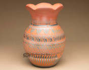 Etched Flower Top Navajo Pottery Vase
