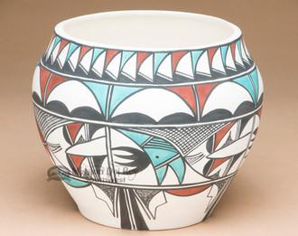 Tigua Hand Painted Pueblo Pottery Vase