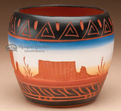 "American Indian Navajo Vase 5x4"" -Hand Etched (p216)"