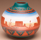 Colorful Hand Etched Navajo Pottery Vase
