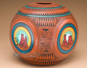 Rounded Square Navajo Pottery Vase