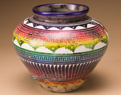 Horsehair Rainbow Etched Pottery
