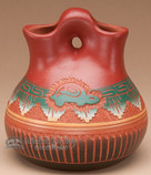 """Navajo Indian Pottery Wedding Vase 4.5"""" -Hand Etched (p314)"""
