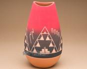 "Native American Lakota Red Bullet Vase 10"" -Sioux (p607)"