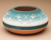 "Native American Planter Vase 9""x4.25"" -Lakota Green (p639)"