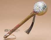 """Native American Painted Rawhide Rattle 8"""""""