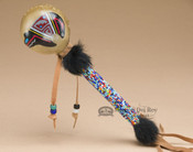 Native American Painted Rawhide Beaded Rattle - Bear