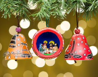 Andean indian gourd christmas ornaments 3 pc o52 - Buy christmas decorations online india ...