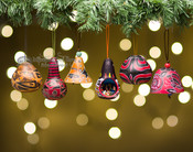 Colorful Etched Gourd Ornaments - Andean