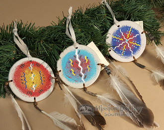 Indian painted shield christmas ornament 3 3 set o6 - Buy christmas decorations online india ...