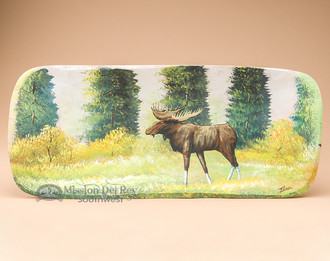Hand Painted Wooden Dough Bowl - Moose