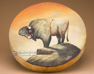 "Hand Painted 16"" Tarahumara drum - Buffalo"